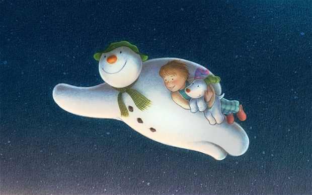 Snowman flying through the air with a young boy and his dog from 'The Snowman and the Snowdog'