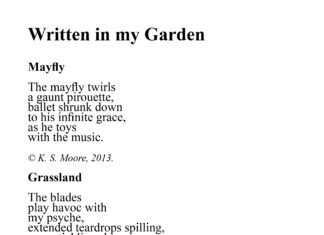 Three micropoems written by K. S. Moore.