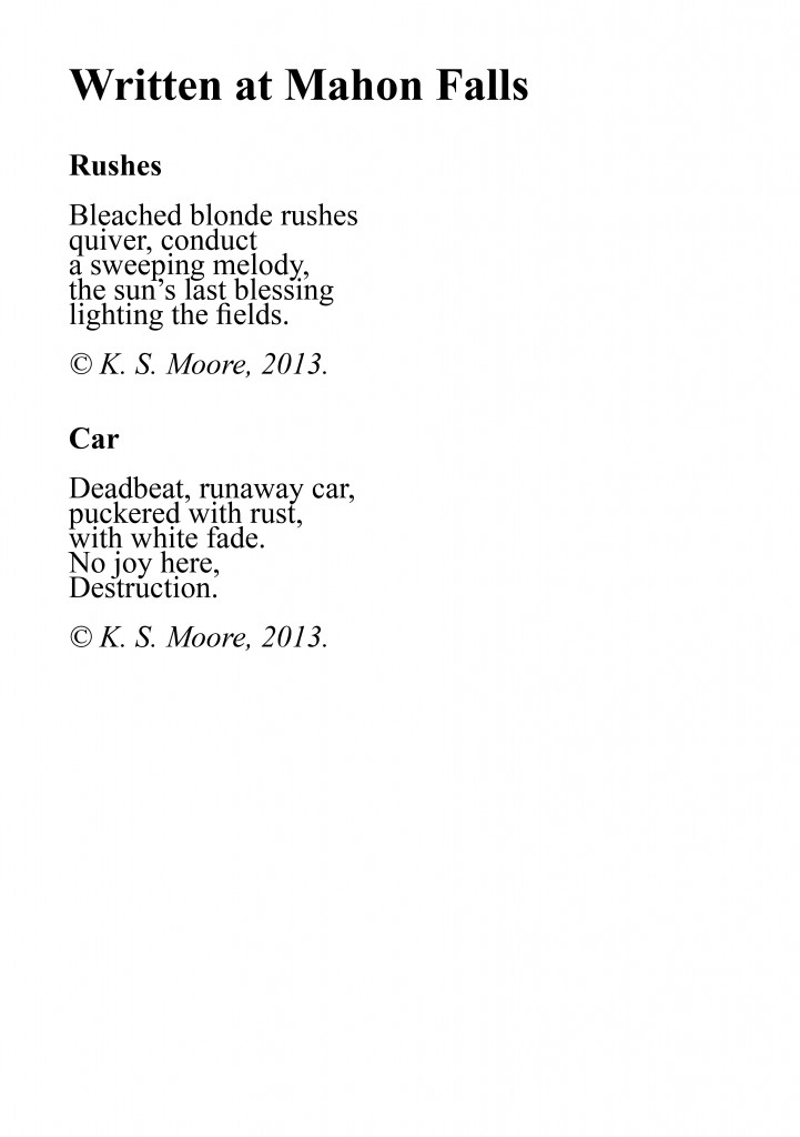 Two micropoems written at Mahon Falls, by K. S. Moore.