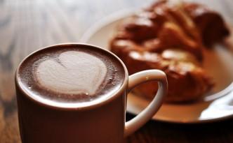 Hot chocolate and cake.