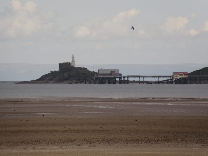 View of Mumbles Pier and Lighthouse, from Blackpill.