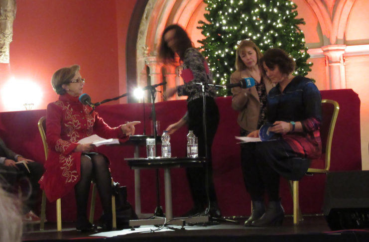 Olivia O'Leary with Enda Wyley, at the start of the live recording of the RTE Christmas Poetry Programme, at Kilkenny Castle.